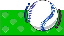 Baseball über grünem Boden